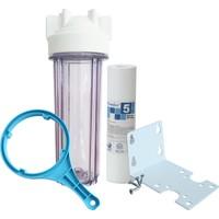 "Global Water Solutions Tortu Filtresi 3/4"" Su Bağlantılı Şeffaf Housing + Montaj Seti"