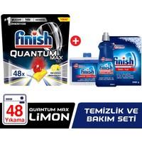 Finish Quantum Max Bulaşık Makinesi Deterjanı 48 Kapsül Limonlu + Temizlik ve Bakım Seti