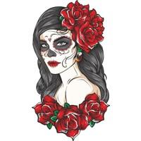 Sticker Fabrikası Kadın Kuru Kafa Çiçekli Sticker 00029 9 x 16 cm Renkli