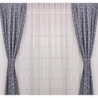 Odeon Gri Yıldızlı Çocuk Odası Fon Perde 2 Kanat 75 x 250 cm