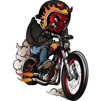 Sticker Fabrikası Motosikletli Şeytan Sticker 00054