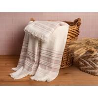 Englısh Home Retro Çizgili 2'li Banyo Havlusu Takımı 50 x 85 cm + 70 x 150 cm Ekru - Pembe