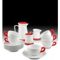 Kütahya Porselen 17 Parça Çay Seti Kırmızı
