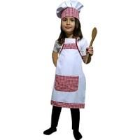 Kostümce Aşçı Önlüğü ve Şapka Seti