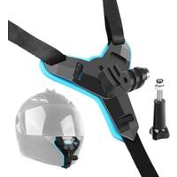Tıyu Kask Kamera Çene Tutucu Komple Siyah Renk L Mavi