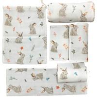 Mutlu Gün Marketi Müslin Bezi Torbalı Bebek Set 6 Parça Tavşan Figürlü