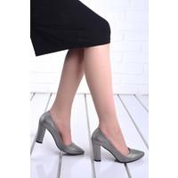Ayakland 137029-311 20 Günlük 8 cm Topuk Kadın Çupra Ayakkabı Gri