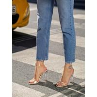 My Poppi Shoes Victoria Ten 10 cm Şeffaf Topuklu Kadın Ayakkabı