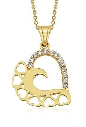 AltınSepeti Altın Kalp Kolye AS20132KL + İnci Küpe