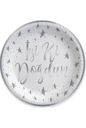 Acar Süs Gümüş İyi Ki Doğdun Varak Baskılı Karton Tabak 8 Adet 23 cm