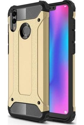 Herdem Huawei Honor 8C Kılıf Çift Katmanlı Zırh Tam Koruma Gold