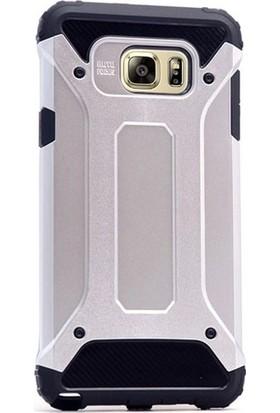 Herdem Samsung Galaxy Note 5 Kılıf Çift Katmanlı Zırh Tam Koruma Gümüş