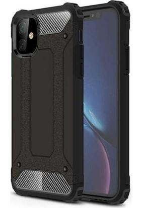 Herdem iPhone 11 Kılıf Çift Katmanlı Zırh Tam Koruma Siyah