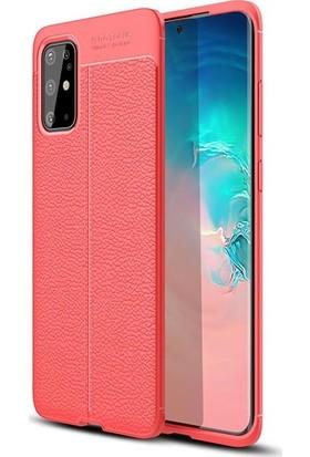 Herdem Samsung Galaxy S20 Plus Kılıf Deri Görünümlü Silikon Kapak Kırmızı
