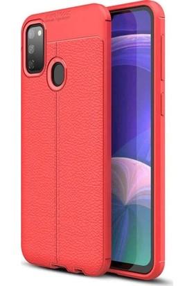 Herdem Samsung Galaxy M30 Kılıf Deri Görünümlü Silikon Kapak Kırmızı