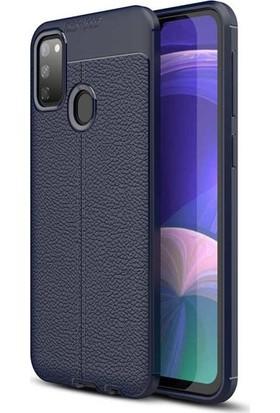 Herdem Samsung Galaxy M30 Kılıf Deri Görünümlü Silikon Kapak Lacivert