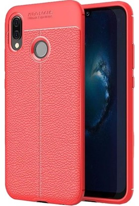 Herdem Samsung Galaxy M10 Kılıf Deri Görünümlü Silikon Kapak Kırmızı