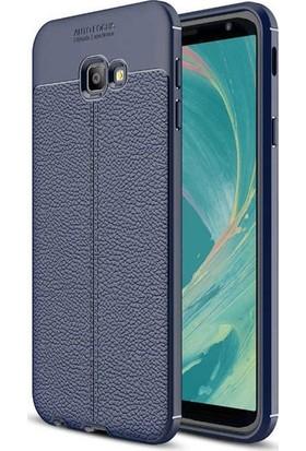 Herdem Samsung Galaxy J4 Plus Kılıf Deri Görünümlü Silikon Kapak Lacivert