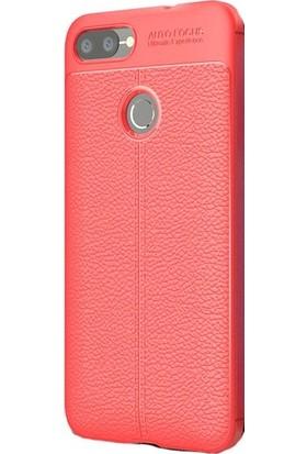 Herdem Asus ZenFone Max Plus ZB570TL Kılıf Deri Görünümlü Silikon Kapak Kırmızı