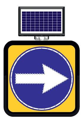 Fm Trafik Solar Ledli Yol Bakim Levhasi 60 x 60 cm Sağdan Gidiniz