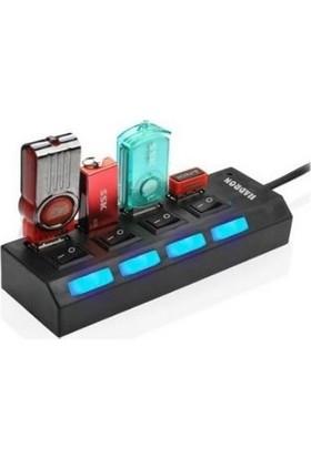 Hadron Gaman 4 Port USB 2.0 Hub LED Işık Anahtarlı USB Çoklayıcı
