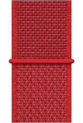 Mahzen Apple Watch 1-2-3-4-5 Uyumlu 42 - 44 mm Spor Loop Kordon Kırmızı