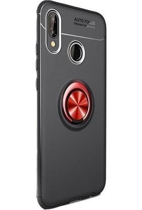 Omelo Xiaomi Mi 6X Kılıf Silikon Yüzüklü Standlı Metal Araç Tutuculu Ravel Tpu Siyah Kırmızı