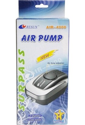 Resun Air 4000 Çift Çıkışlı Akvaryum Hava Motoru 4,5 L/dk + T Aparat