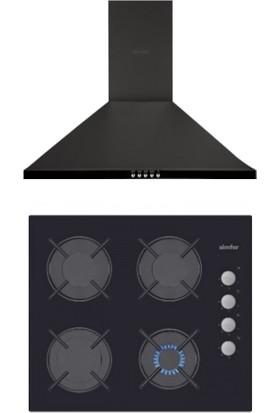 Simfer Ikili Siyah Eco Ankastre Set 6 (3500 OCAK-8663 Davlumbaz)