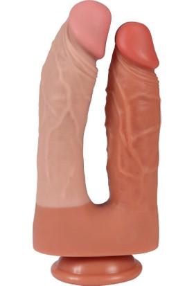 Xise Esnek Silikon Malzeme 21 cm Yumuşak Realistik Double Penis + Jel