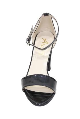 Arıcı Siyah Rugan Tek Bant Açık Ayakkabı