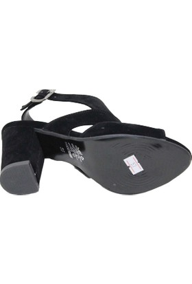 Arıcı Obucca Siyah Süet Kapalı Topuklu Sandalet