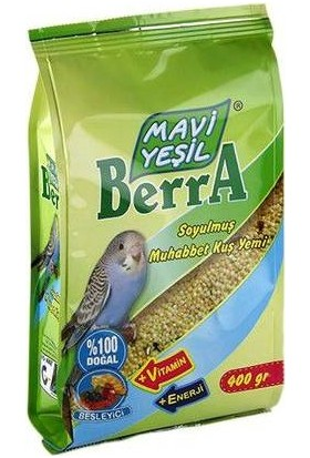 Mavi Yeşil Berra Kabuksuz Tam Muhabbet Kuşu Yemi 400 gr