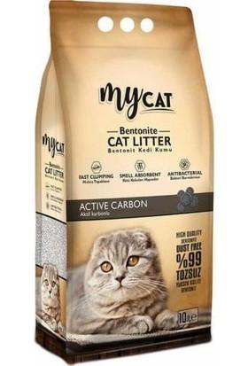 My Cat Aktif Karbon Topaklaşan Bentonit Kokusuz Kalın Taneli Kedi Kumu 10 lt