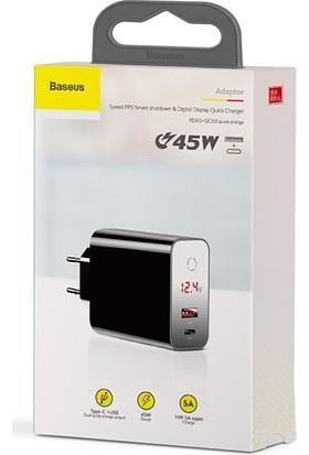 Baseus CCFSEU907-01 Speed PPS Touch Dijital Ekran Qc 4.0 3.0 45W Hızlı Şarj Aleti - Siyah