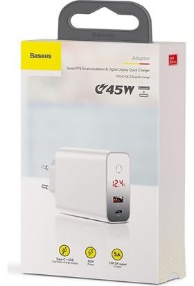 Baseus CCFSEU907-02 Speed PPS Touch Dijital Ekran Qc 4.0 3.0 45W Hızlı Şarj Aleti - Beyaz