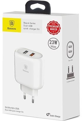 Baseus 23W Qualcomm 3.0 2 USB Hızlı Şarj Başlığı Beyaz