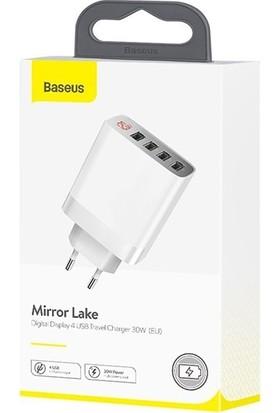 Baseus Mirror Lake 30W Dijital Göstergeli 4 Port Usb Çoklu Şarj Aleti Ccjmhb-B02 - Beyaz