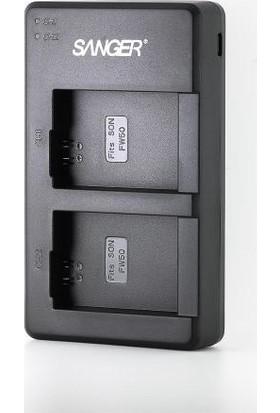 Sanger Sony NP-FW50 2'li USB Şarj Cihazı ve Batarya Seti