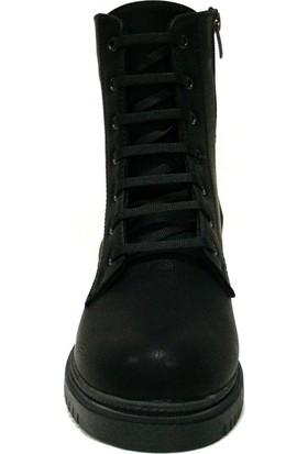 Shoepi 4202 Siyah Bağcıklı Fermuarlı Anatomik Kadın Bot