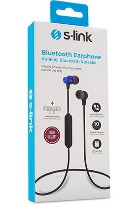 S-link SL-BT45 TF Card + Bluetooth Kulak İçi Mavi Mikrofonlu Kulaklık