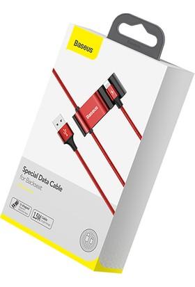 Baseus CALHZ-09 Apple iPhone USB Kablo + Araba Arka Koltuk Çift USB Çoğaltıcı - Kırmızı