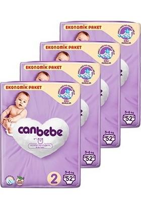 Canbebe Bebek Bezi 2 Beden Mini Aylık Ekonomik Paket 4 x 52'li 208 Adet