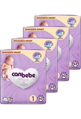 Canbebe Bebek Bezi 1 Beden Yeni Doğan Aylık Ekonomik Paket 4x62'li 248 Adet