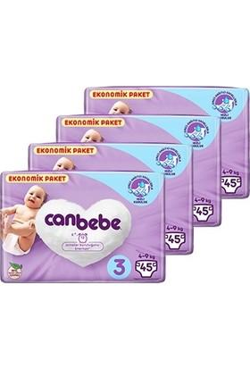 Canbebe Bebek Bezi 3 Beden Midi Aylık Ekonomik Paket 4 x 45'li 180 Adet