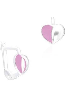 Aykat Kalpli Küpe Gümüş Pembe Renk Kız Çocuk Küpesi KUPE-332