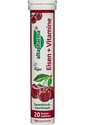 Altapharma Demir ve Vitaminler İçeren Takviye Edici Gıda Efervesan Tablet Vişne Aromalı 20 adet