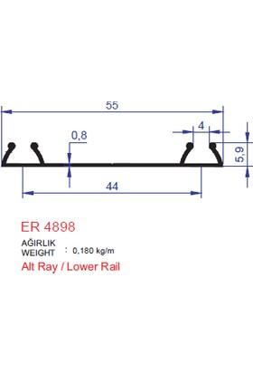 Ersaş Alüminyum Sürgülü Kapı Dolap Rayı Alt Ray Profili ER 4898 2,5 Metre Tekli