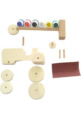 Küçük Usta Ahşap Oyuncak Boyama Eğitim ve Etkinlik Seti (Tır-Traktör-Spor Araba)