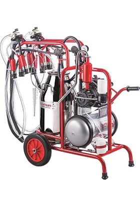 Kurtsan Çift İnek Süt Sağım Makinası Krom Güğüm Hava Depolu 40 lt